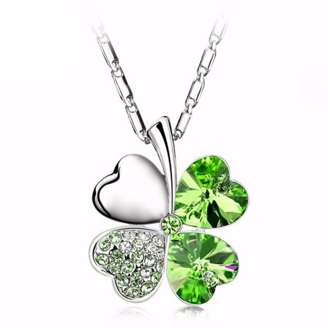 Glitter Crystal Irish Shamrock Charm Pendant