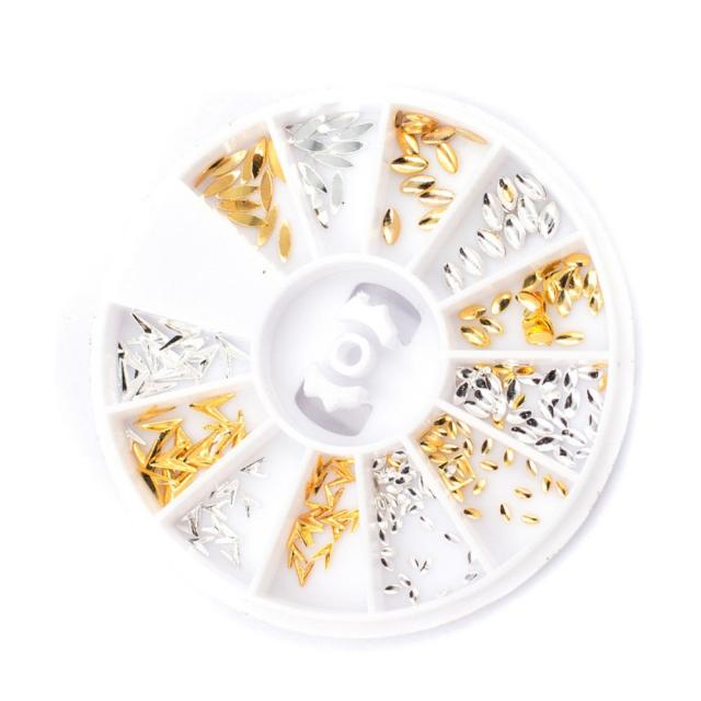 Glitter 3D Style Gold Alloy Japanese V-Shape Nail Art