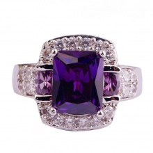 Purple Multi-Colour Stone Ring
