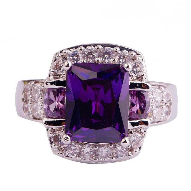 Purple Multi-Colour Stone Ring