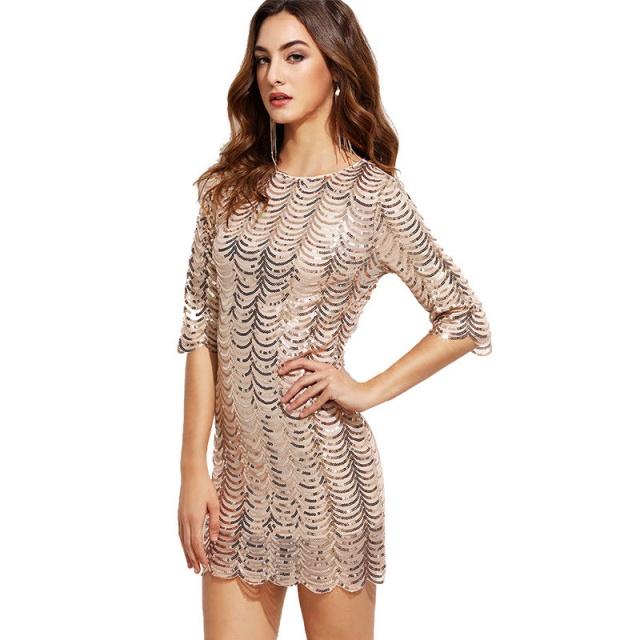 Elegant Sequin Glitter Shift Dress