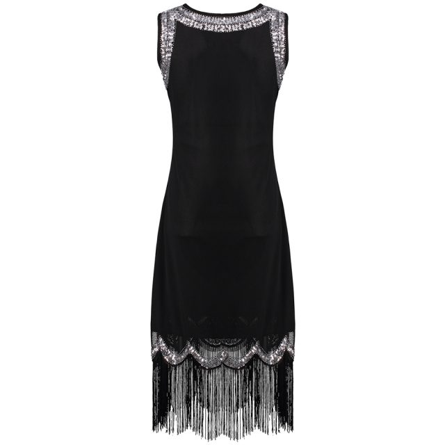 Women's Glittery Dress With Rhinestones And Tassels