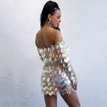 Party Strappless Glittery Shining Dress