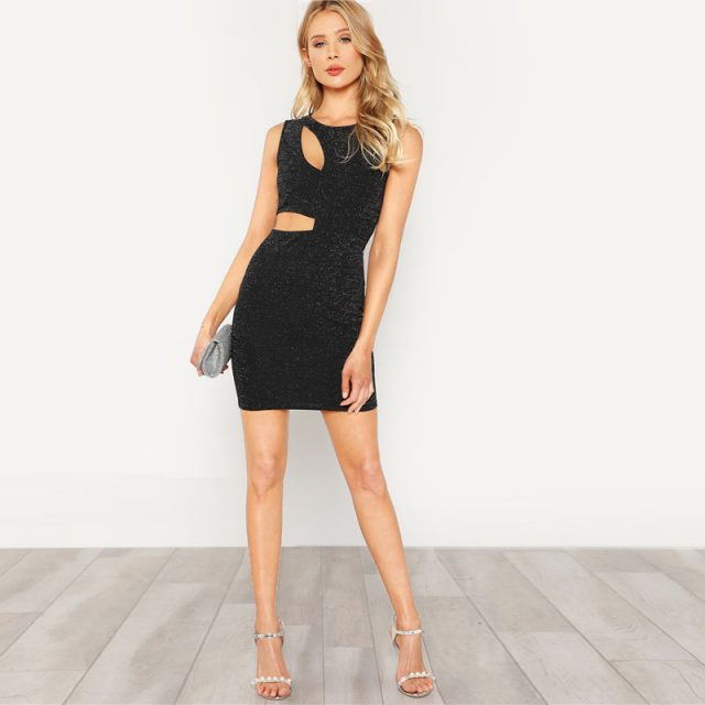 Women's Black Cut Out Glitter Sleeveless Dress